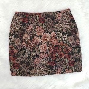 Vintage Floral Carpet Bag Style Pencil Skirt